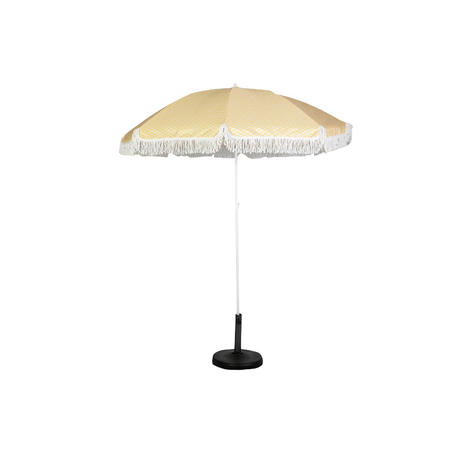 HYB1838 Light Yellow Beach Umbrella With Fringe